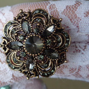 VINTAGE HANDCRAFTED Jewelry - ART DECORE CHARMING GRAYSTONE HANDCRAFTED RING